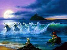 FANTASY UNICORNS OCEAN WAVES SEA IMAGE A4 Poster Laminated Gloss Print (New)