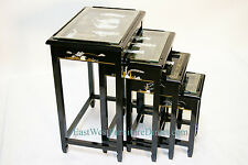 oriental black lacquer nest tables Chinese furniture