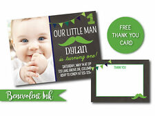 PRINTABLE First Birthday Invitation Little Man - Mustache Birthday Boy Invite