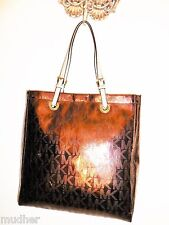 NWT MICHAEL KORS Jet Set MK Sign Bronze Cocoa Mirror Patent Leather Strap Tote