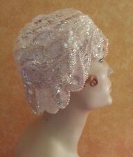 Flapper Gatsby 20's Style Iridescent White Sequin Headpiece Hat Bridal Costume