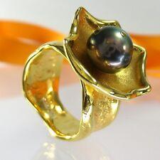 A576 JMB Unikat Schmuck Perlen Ring 925 Sterling Silber Gold vergol. Handarbeit