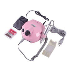 Electric Nail Drill Device Acrylic Set  6 Bits Heads Holder Handpiece Foot Pedal