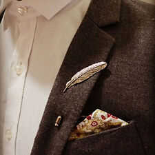 Unique Chic Men Leaf Feather Brooch Pins Collar Suit Stick Breastpin Lapel Pin