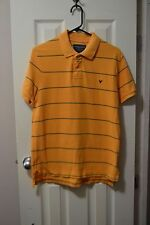 Mens AMERICAN EAGLE OUTFITTERS S/S Polo Shirt, S, Ora+Grn Striped, Cotton, GUC
