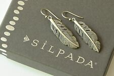 Silpada NIB Etched Sterling Silver Feather Indian Earrings W3499 NEW