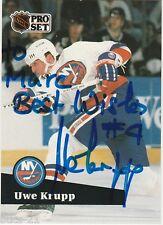 1991 Pro Set Uwe Krupp Autographed To Marc New York Islanders #436 Hockey Card