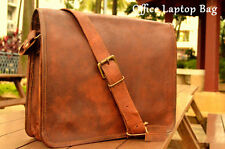 Men Vintage Style Genuine Leather Satchel School Laptop Shoulder Messenger Bag