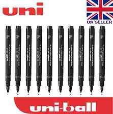 10 X Uni Pin Dibujo Bolígrafo Fineliner ultra fina línea línea de rotulador en Negro 0.05