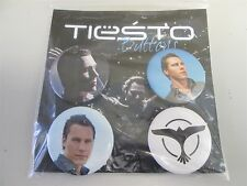 DJ TIESTO 4 Buttons/Pin-Badges - Trance/House Dance Clubwear Promo Pictures/Logo