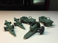 Old Vtg Plastic Military USA Army Jeep TIM-MEE USA Cannon On Wheels LOT Green