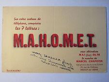 10C19 ANCIEN BUVARD PUBLICITAIRE JEU PAR TELEPHONE M.A.H.O.M.E.T MARCEL CHAPOTIN