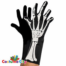 Adults Mens Black & Bone 3D Skeleton Gloves Fancy Dress Costume Accessory