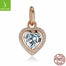 925 Sterling Silver Sparkling Love Dangle Charms,Rose Gold Clear CZ fit Original