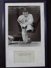 JOE MCCARTHY B&W PHOTO MATTED & FRAMED WITH SIGNED INDEX CARD JSA AUTHENTICATED