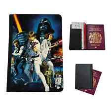 VINTAGE Star Wars Collage In Finta Pelle Custodia per Passaporto da Viaggio Custodia Flip Cover