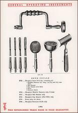 BONE DRILLS, SURGICAL INSTRUMENTS, ELECTRIC ON BACK, CATALOG PG ORIGINAL 1935