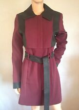 Vero Moda Coat Wine And Black Leather Trims Size M 8 10 New Womens Rrp £90 Cc46