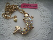 "BETSEY JOHNSON AB CLEAR CRYSTAL KOI FISH PENDANT NECKLACE  24""  # 55"