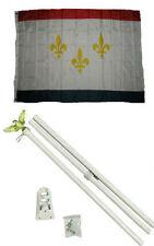 3x5 City of New Orleans Louisiana Flag White Pole Kit Set 3'x5'