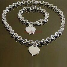 1set women's new stainless steel oval chain with heart charm necklace bracelet