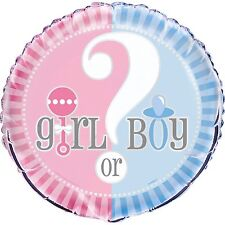 "18"" Boy Or Girl Baby Shower Gender Reveal Party Round Flat Foil Balloon"