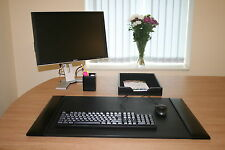 BLACK HANDMADE REAL LEATHER THREE PIECE DESK SET BY ZALE YARDLEY UK
