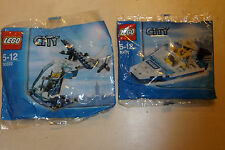 2x LEGO CITY PACKS POLICE HELECOPTER & POLICE BOAT + MINIFIGURES 30017 & 30222
