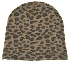 Wild Animal Print Leopard Cuffless Beanie Knit Hat(light color)