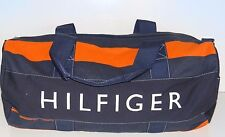 NWT Tommy Hilfiger Men's Navy Blue/Orange Large Canvas Duffle Gym Travel Bag