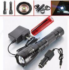 5000LM XML T6 LED Zoom Flashlight Torch Rechargeable Light+18650 Battery+Charger