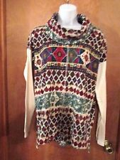 "Ladies ""Chaps"" Size L, Multi Color, Layered Look, Turtleneck, Pullover Top"