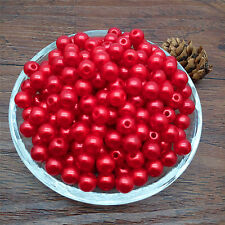 Hot  8 mm  Red Acrylic Round Pearl Spacer Loose Beads Jewelry Making DIY MG09