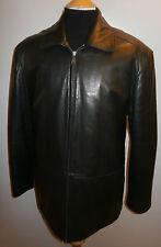 Hathaway Hombre Grande 42 44 Negro Genuino De Abrigo Chaqueta Blazer de Cuero Suave con cremallera