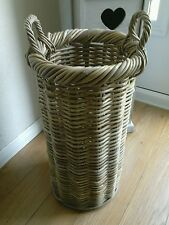 Grey Rattan Umbrella Hollway Storage Basket Stand Holder 59 cm