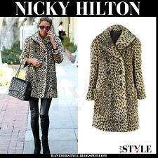 TOPSHOP SIZE 10-12 PETITE FAUX FUR LEOPARD LPRINT COAT WOMENS JACKET LADIES