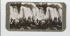 WWI Stereoview (Realistic) - British troops refresh themselves at a water-fall