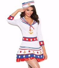 Sexy Sailor Halloween Costume Large Women Patriotic USA Military White Red Dress