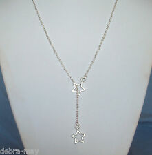 Pretty Twin Star Pendant Silver Plated Chain Necklace in Gift Bag