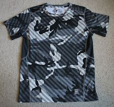 NIKE PRO Combat Dri-Fit Boys Gray Camouflage Hypercool Fitted Shirt LARGE 14/16