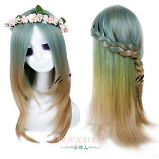 New lolita wig full curly wave hair cosplay party green mix long wigs+ garland