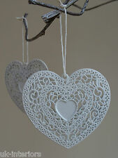 Set of 6 Filigree Dainty Hanging HEART Metal Shabby Chic White Decoration Box