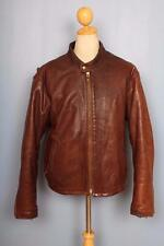 Vtg NATAL Cafe Racer Leather Motorcycle Jacket Quilted Lining L/XL