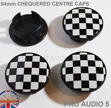4x drapeau à damiers roue 54 mm centre Caps HUB Noir & Blanc-S Mini S-UK