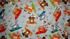 Yoga Flannel fabric cat dog workout exercise cotton quilt sewing material BTY