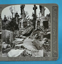 WW1 Stereoview British Army French Graves Smashed Realistic Travels
