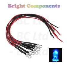 5 x Pre-Wired Blue LED 5mm Ultra Bright : 5V ~ 7V : 1st CLASS POST