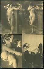 4 x PHOTO POSTCARD - WOMAN NACKED NUDE PORTRAIT GIRL - NUDE EROTIC - VINTAGE