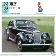 RILEY RME 1/2 LITRE 1953 1955 CAR VOITURE Great Britain CARTE CARD FICHE