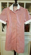 Red Stripe Retro Waitress Candy Shop Uniform Dress Red Striper Vintage XS
